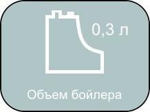 Обьем бойлера MIE Stiro равен 0,3 литра.