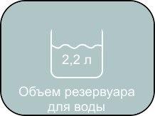 Объем резервуара для воды в MIE Stiro, 2,2 литра.